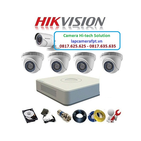 Bộ 5 camera Hikvision