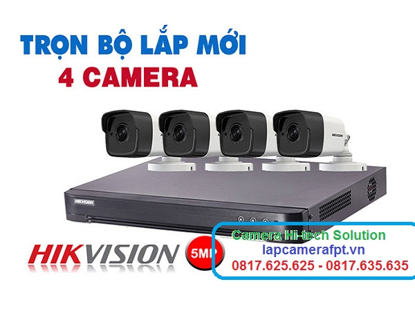 trọn bộ 4 camera hikvision 5 MP