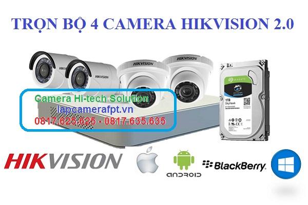trọn bộ 4 camera hikvision 2 MP