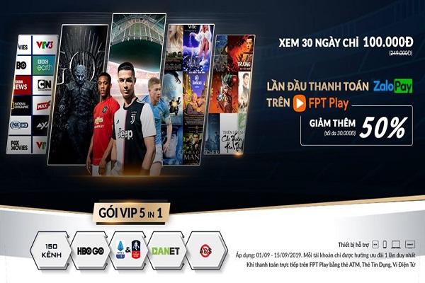 Gói VIP 5 In 1 trên Fpt Play