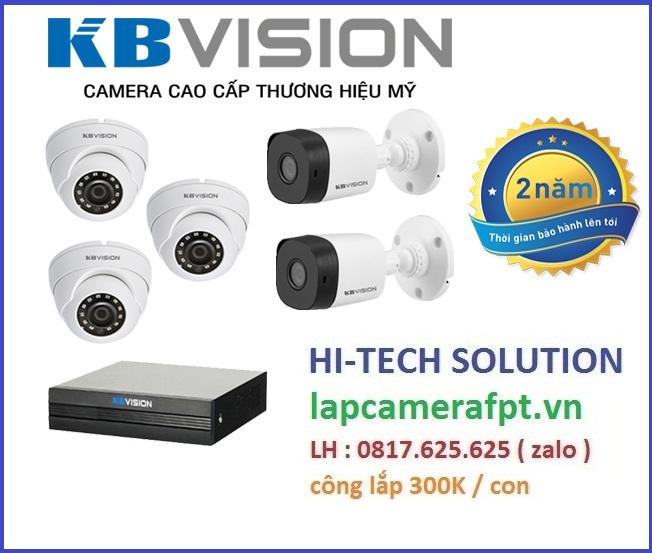 Trọn bộ 5 camera KBVision 2MP