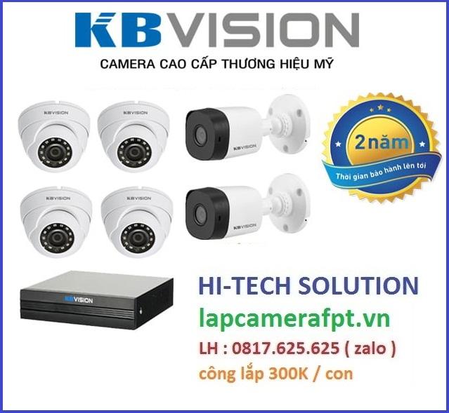 Lắp trọn bộ 6 camera KBVISION